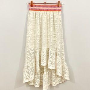 • justice • girls high low crochet maxi skirt •